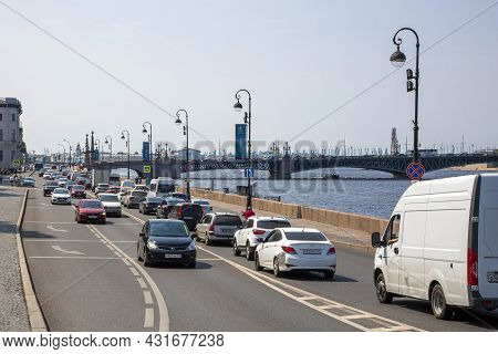 St. Petersburg, Russia - July 09, 2021: View Of The Palace Embankment And Trinity Bridge In St. Pete