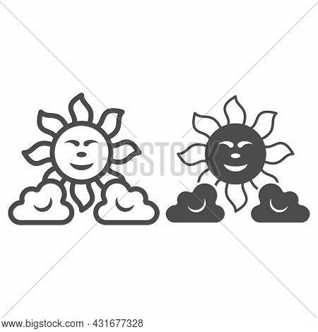 Sun Between The Clouds Line And Solid Icon, Weather And Climate Concept, Sunshine In The Sky Vector