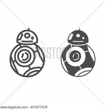 Astromechanical Robot Bb 8 Line And Solid Icon, Star Wars Concept, Astromech Droid Vector Sign On Wh