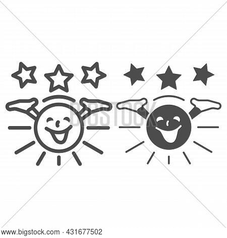 Smiling Sun With Hands And Stars Line And Solid Icon, Weather And Climate Concept, Sunshine Vector S