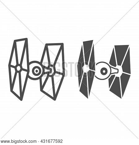 Tie Fighter Line And Solid Icon, Star Wars Concept, Imperial Starfighter Eyeball Vector Sign On Whit