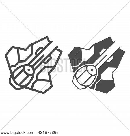 Light Interceptor Type Eta 2 Aktis Line And Solid Icon, Star Wars Concept, Jedi Starfighter Vector S