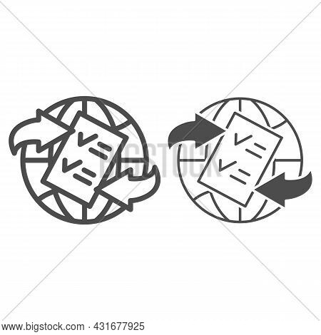 Globe, Arrow, Checkmark, Papper Form Line And Solid Icon, Documetns Concept, Legal Tourism Vector Si