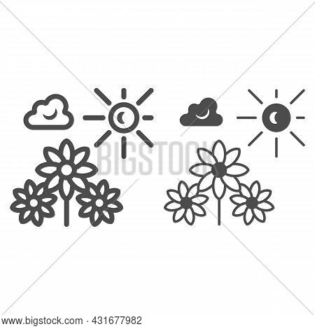Sun Illuminate Flowers, Cloud, Sky Line And Solid Icon, Nature Concept, Sunshine And Bloom Vectror S