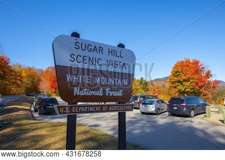 New Hampshire, Usa - Oct. 14, 2019: Sugar Hill Scenic Vista Sign At Sugar Hill Overlook On Kancamagu