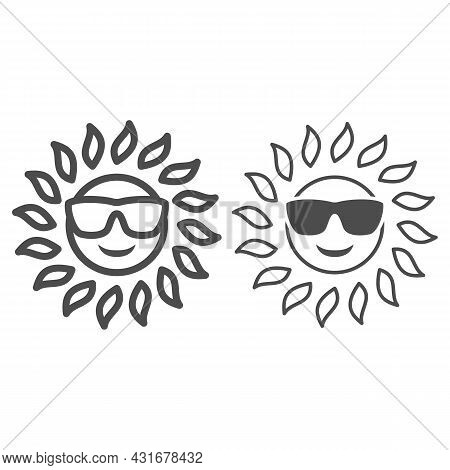 Sun In Glasses Line And Solid Icon, Weather And Climate Concept, Sunshine In Spectacles Vector Sign