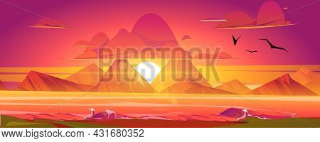 Sunset On Ocean, Red Sky With Sun Going Down The Sea Surrounded With Mountains. Beautiful Nature Sce
