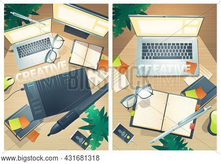 Creative Time Posters With Top View Of Designer Workspace. Vector Flyers With Cartoon Flat Lay Of Cr