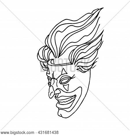 A Smiling Joker Mask With Clown Hair, A Mystical Character, The Concept Of A Stand-up Comedian, A Ve
