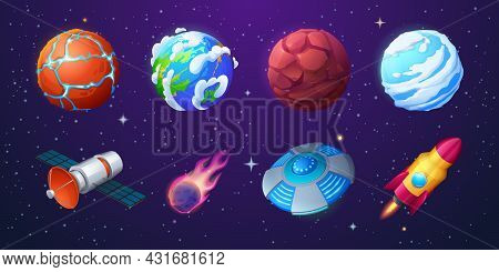 Earth, Alien Planets, Rocket, Ufo Spaceship And Meteor On Background Of Outer Space With Stars. Vect