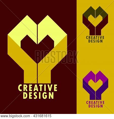 Hand-shaped Flat Illustration Logo Design Heart, A Symbol Of Loyalty, Love And Belonging