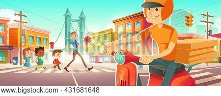 Children Walk On Pedestrian Crosswalk With Teacher. Delivery Man On Scooter With Pizza Wait On Road