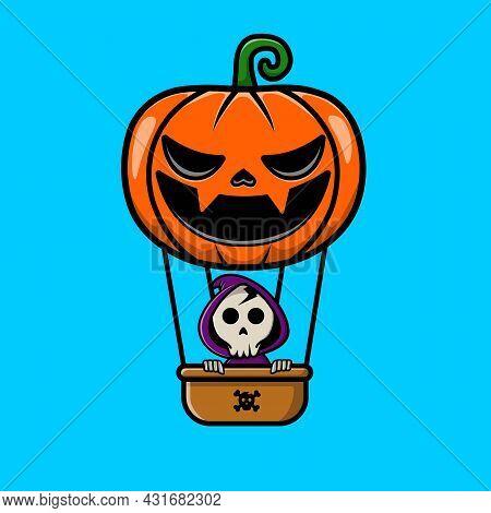 Cute Grim Reaper Flying With Pumpkin Air Ballon