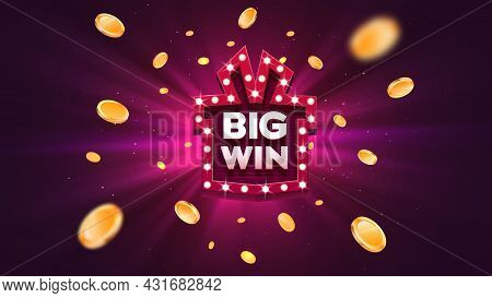 Big Win Prize Gift Box With Red Retro Board Sign Vector Illustration. Win Congratulations Explosion