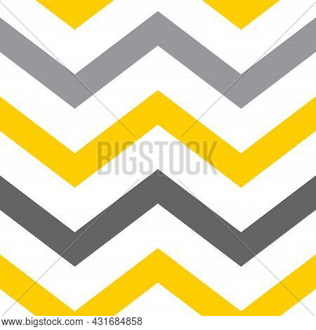 Seamless Geometric Pattern In The Trending Colors Of 2021 - Yellow And Gray. Zigzag. Vector Illustra