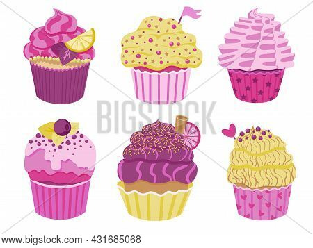 Set Of Cute Little Cupcakes With Cream And Berries. Delicious Dessert With Different Decor. Pink And