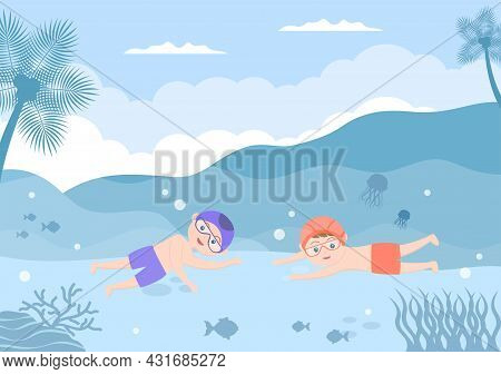 Cute Little Kids Swimming Background Vector Illustration In Flat Cartoon Style. People Dressed In Sw