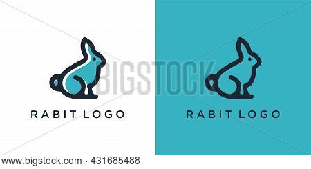 Rabbit Logo Template Vector Icon Symbol Illustration. Rabbit Icon On Green And White Background.