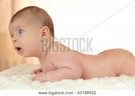 Cute naked baby boy lies on his stomach