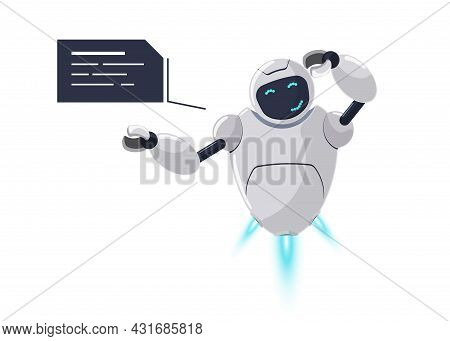 Cute White Flying Robot Character Thinking. Futuristic Chatbot Mascot Embarrassment With Speech Bubb