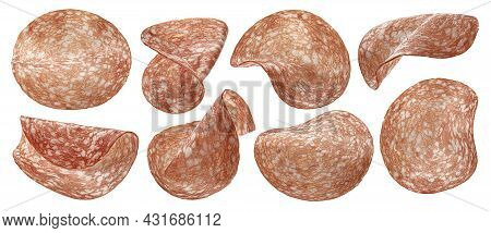 Sliced Salami Sausage Isolated On White Background With Clipping Path