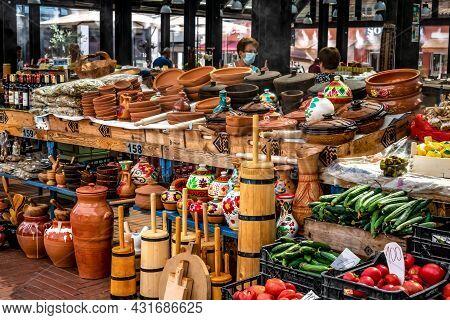 Tirana, Albania - June 21, 2021: Handmade Wooden And Earthenware At The Pazari I Ri Market In Tirana
