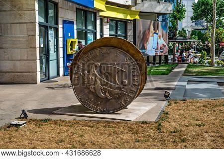Tirana, Albania - June 21, 2021: Large Bronze Coin With The Inscription