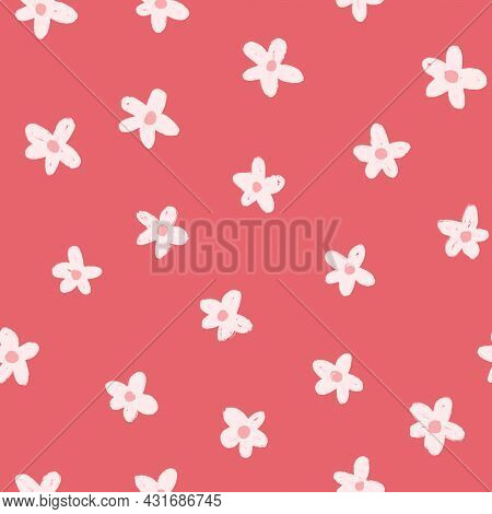 White Painted Flowers On Red Seamless Background. Repeating Floral Pattern Simple Minimalism Flower