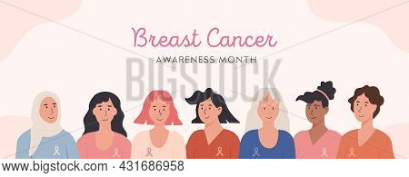 Breast Cancer Awareness Month Horizontal Banner. Flat Style Group Of Diverse Ethnic Women With Aware