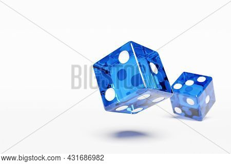 3d Illustration Closeup Of A Pair Of Blue  Dices Over White Background. Blue Dice In Flight. Casino