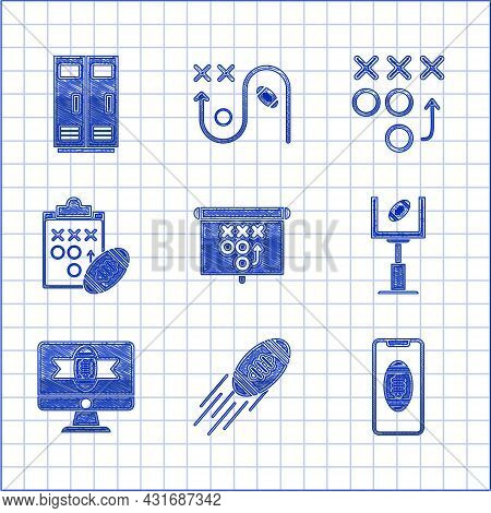 Set Planning Strategy Concept, Smartphone With American Football The Screen, Goal Post And, Tv Progr
