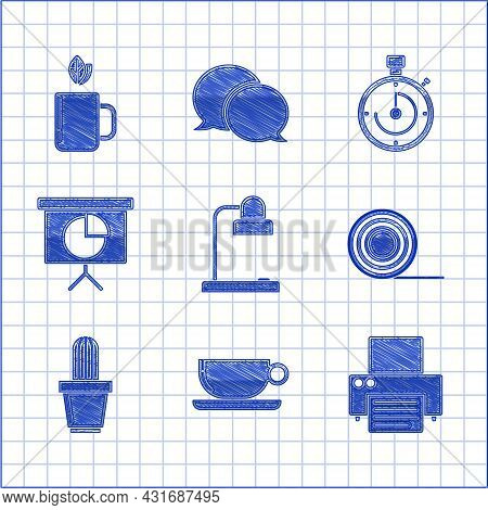 Set Table Lamp, Printer, Scotch, Cactus And Succulent Pot, Presentation Financial Board With Graph,