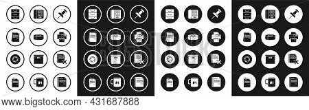 Set Push Pin, Scotch, File Document, Drawer With Documents, Printer, Telephone, Delete File And Icon