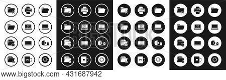 Set Document Folder, Laptop And Cross Mark On Screen, Delete, Printer, Scotch And Folder Settings Wi