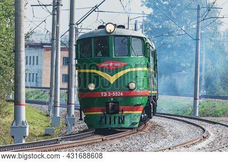 Moscow, Russia - August 27, 2021: Retro Diesel Locomotive Te-3 At Pro-motion-expo Exhibition. Locomo