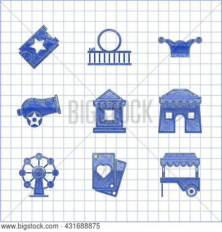 Set Ticket Box Office, Playing Card, Fast Street Food Cart With Awning, Circus Tent, Ferris Wheel, C