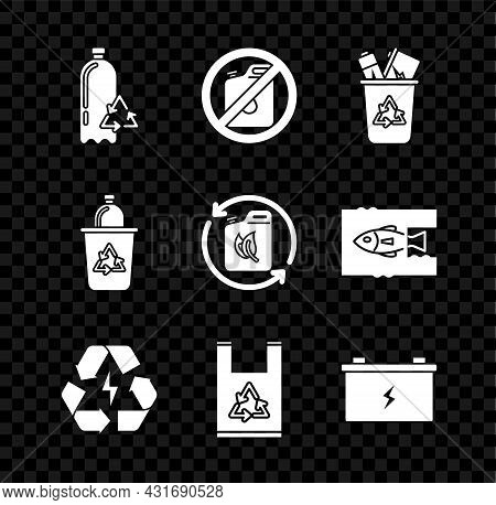 Set Recycling Plastic Bottle, No Canister For Gasoline, Recycle Bin With Recycle Symbol, Battery, Pl