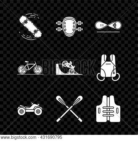 Set Skateboard Trick, Knee Pads, All Terrain Vehicle Or Atv Motorcycle, Crossed Paddle, Life Jacket,