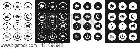 Set Sunrise, Thermometer And Cloud, Weather, Cloud With Rain, Moon Stars, Sunset, Snow Sun And Icon.