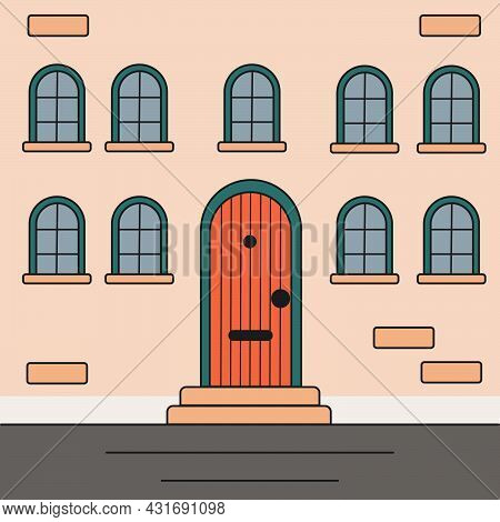 An Illustration Of A Building Facade. Brick Wall With A Front Door And Windows. Cartoon Style. Real