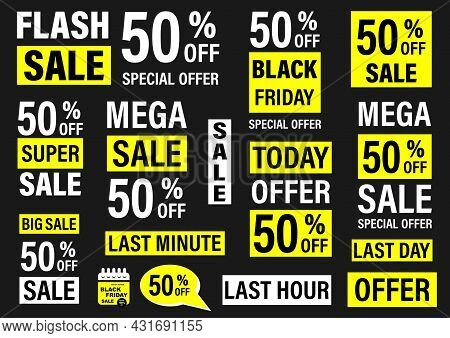 Set Labels With Inscription Sale. Vector Flat Illustrations. Ad Or Promo. Shopping Concept. Promotio