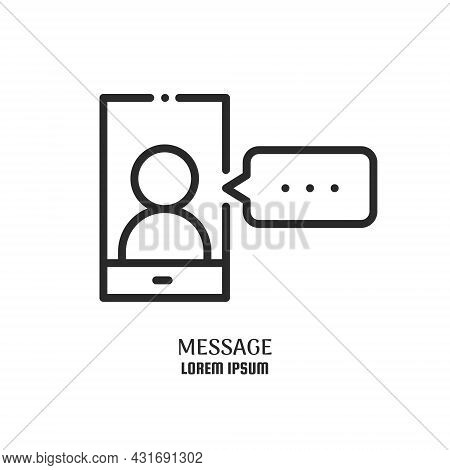 Phone With Human On Screen And Message. Work Videochat. Logo Concept. Video Conference And Online Me