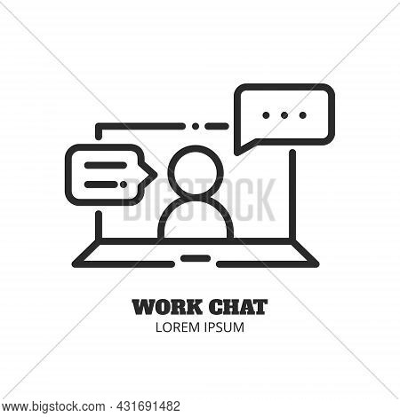 Laptop With Human And Messages. Work Chat, Online Communication. Video Conference And Online Meeting