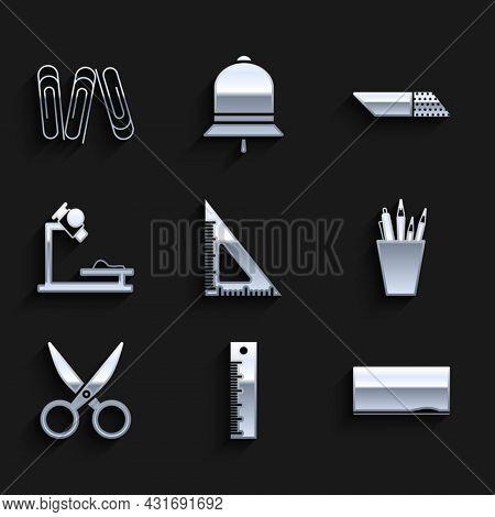 Set Triangular Ruler, Ruler, Chalkboard, Pencil Case Stationery, Scissors, Microscope, Eraser Rubber
