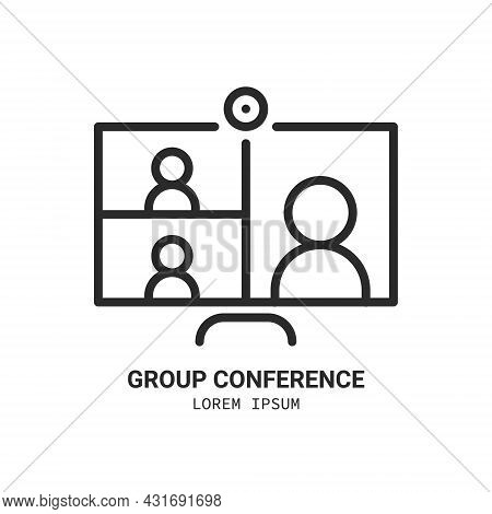 Laptop With People On Screen Communicating On Video Chat. Logo. Video Conference And Online Meeting