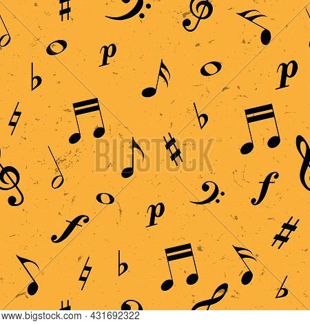 Black Music Notes And Treble, Bass Clef On Yellow Background. Seamless Pattern. Music Class, School.