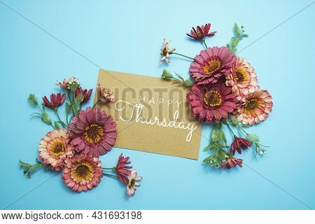 Happy Thursday Card Typography Text With Flower Bouquet On Blue Background