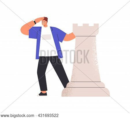 Person With Chess Piece Searching Opportunity, Seeking For Solution, Looking Forward And Estimating