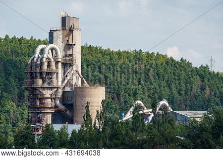 Opencast Mining Quarry With Machinery And Mining Equipment. Limestone Mining For Cement Production.