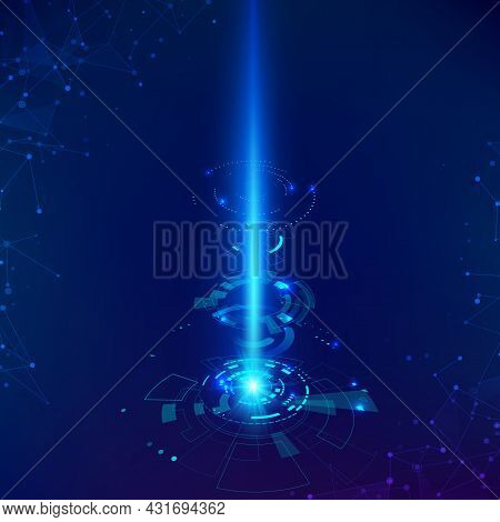 Sci-fi Futuristic Backdrop. Science And Technology Background Hud Elements With Beam. Vector Illustr